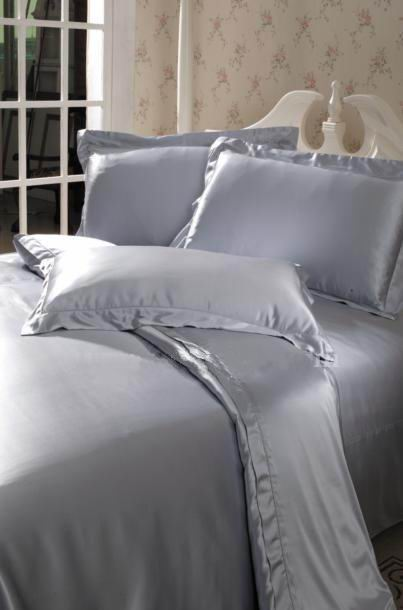 4 Pcs 19MM Pure Silk Fitted Sheets Set Full Size Multi Colors Silver (seams)