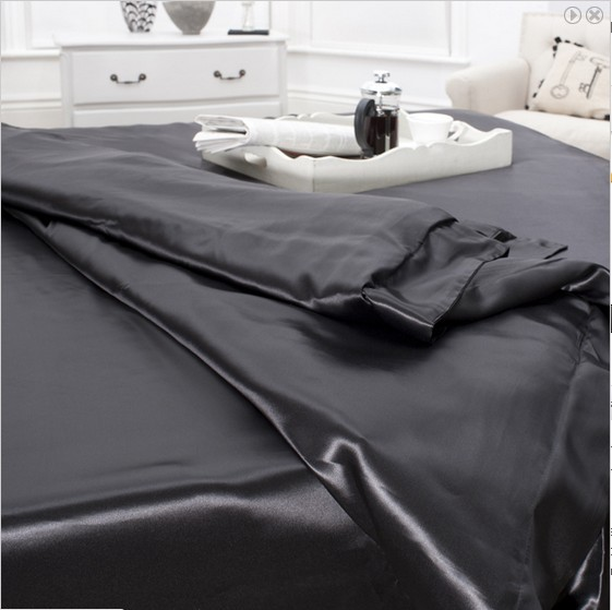 4 pcs 19MM Pure Silk Fitted Sheets Set King size multi colors black(seams)